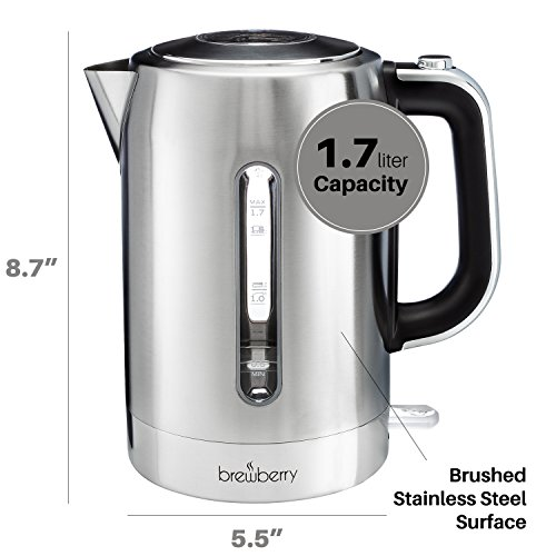 Electric Tea Kettles With Automatic Shut Off ~ Brewberry cordless electric kettle l stainless steel