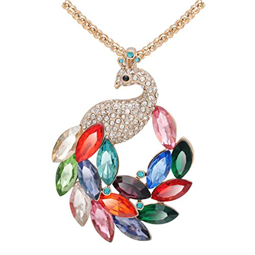 LOMOL Womens High Grade Charm Peacock Crystal Pendant Long Necklace Costume Jewelry (Custom Costume Jewelery)