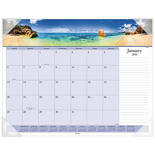 "AT-A-GLANCE 2019 Desk Calendar, Desk Pad, 21-3/4"" x 17"", Standard, Images of the Sea Panoramic (DMD14132) from AT-A-GLANCE"
