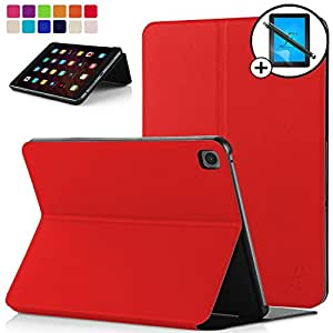 Forefront Cases® Xiaomi Mi Pad 3 Funda Carcasa Stand Smart Case Cover – Ultra Delgado y Protección Completa del Dispositivo con Función Auto Sueño/Estela + Lápiz óptico y Protector de Pantalla (Rojo)