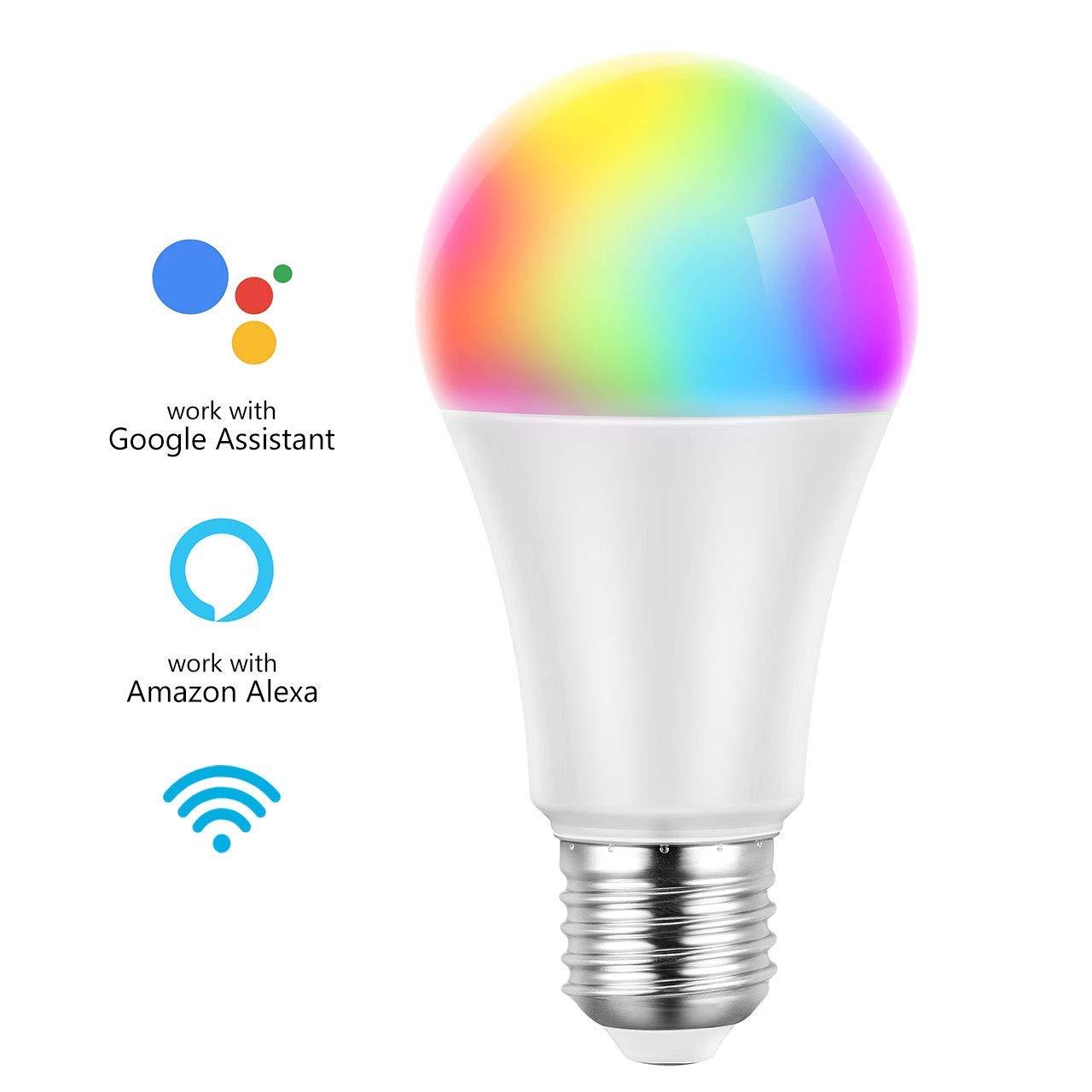 Fonction de Minuterie Google Home et IFTTT 【RGB Couleurs】 Mpow Ampoule LED E27 WiFi,Ampoule LED Intelligent 16 Million Couleurs RGB 7W Ampoule Smart Contr/ôle par Voix Compatible avec Alexa Echo
