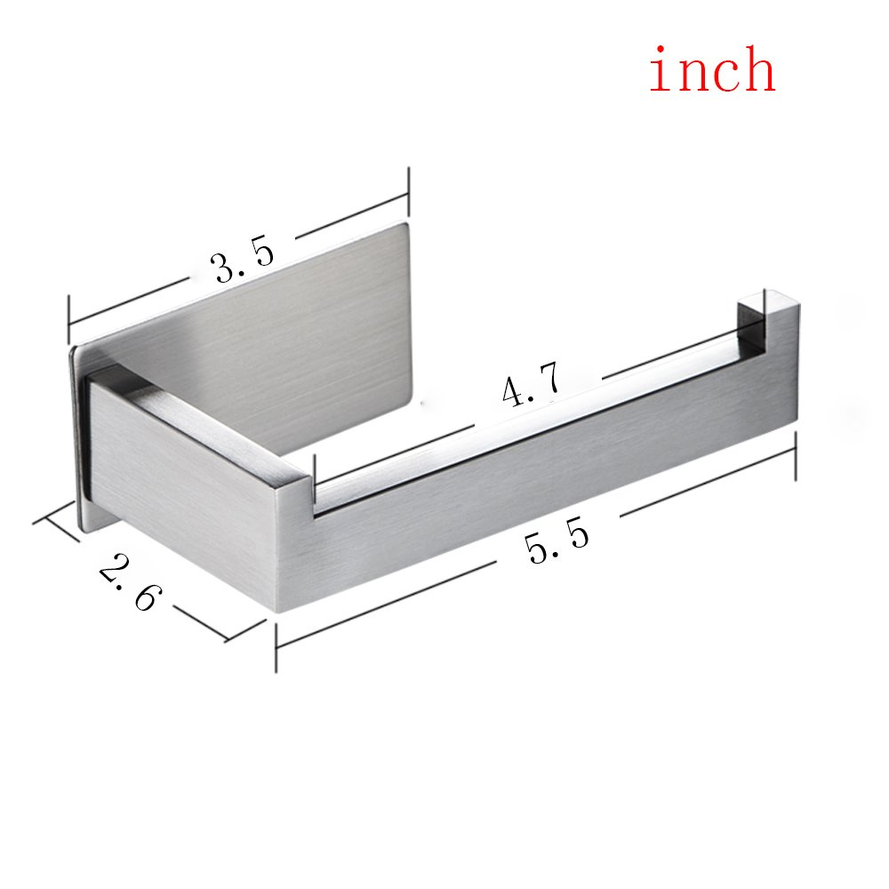 Taozun Toilet Paper Holder 3M Self Adhesive Bathroom Roll Holder Stick on Wall SUS 304 Stainless Steel Brushed by Taozun (Image #5)