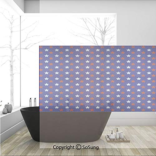 3D Decorative Privacy Window Films,United States of America Theme Federal Holiday Celebration Revolution Design Decorative,No-Glue Self Static Cling Glass film for Home Bedroom Bathroom Kitchen Office