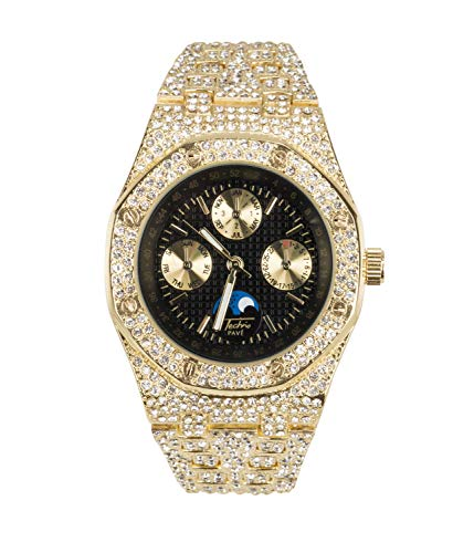 Bling-ed Out Men's Gold CZ Watch with Simulated Chronograph Dial | Japan Movement | Simulated Lab Diamonds | Black Dial