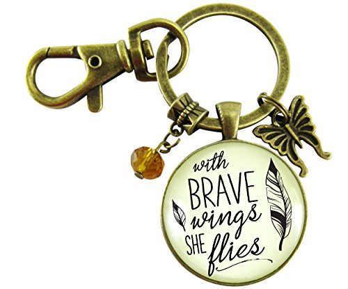 With Brave Wings She Flies Keychain Hipster Style Inspirational Quote Bronze Glass Jewelry Butterfly Charm Key (Sayings Jewelry)