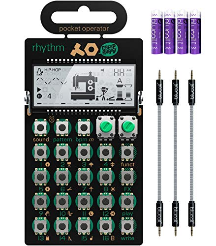 Teenage Engineering PO-20 Pocket Operator Arcade Synthesizer Bundle with Blucoil 3-Pack of 7' Audio Aux Cables, and 4 AAA Batteries