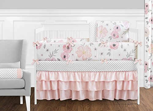 Sweet Jojo Designs 9 Piece Blush Pink Grey and White Shabby Chic Watercolor Floral Baby Girl Crib Bedding Set with Bumper Rose Flower Polka Dot