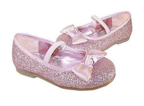 Para niña glitter rosa bailarinas con lazo de satén adorno