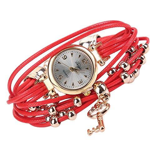BCDshop Bracelets with Watches, New Women Charm Bracelets Watches Fashion Quartz Luxury Wristwatch Gift (Red, NA) ()