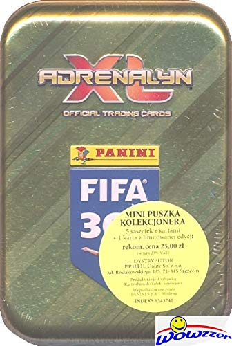 (2019 Panini Adrenalyn XL FIFA 365 EXCLUSIVE Factory Sealed Collectors TIN with 24 Cards Plus SPECIAL LIMITED EDITION Card! Look for Top Stars including Messi, Neymar, Ronaldo, Dybala & More! WOWZZER!)