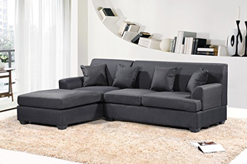 Oliver Smith – Large Black Grey Linen Cloth Modern Contemporary Upholstered Quality Sectional Left or Right Adjustable Sectional 92″ x 65″ x 32.5″