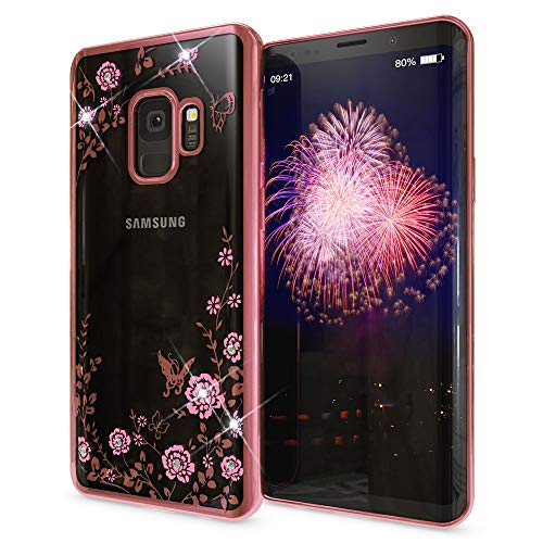 NALIA Rhinestone Case Compatible with Samsung Galaxy S9, Ultra-Thin Silicone Back-Cover Crystal Flower Pattern, Protective Slim Skin Shockproof Gel Bling Phone Protector Bumper, Color:Light Pink