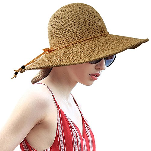 LETHMIK Summer Beach Straw Hat Womens Wide Brim Floppy Packable Sun Hat 2018 Khaki