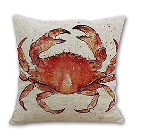 Cotton Linen Marine Life Orange Crab Decorative Pillowcase Throw Pillow Cushion Cover Square 18