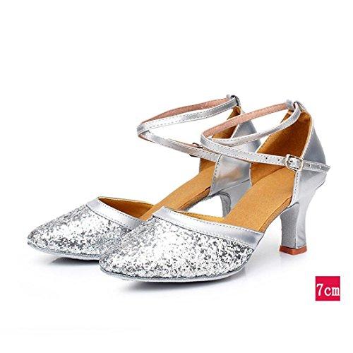 Wxmddn Donna di ballo latino argento scarpe scarpe da ballo 7cm indoor scarpe da ballo soft suole di scarpe da danza moderna per adulti scarpe da ballo Argento 7cm indoor