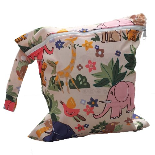 Baby Infant Waterproof Zipper Reusable Cloth Diaper Bag (Lion Animal Pattern Beige)