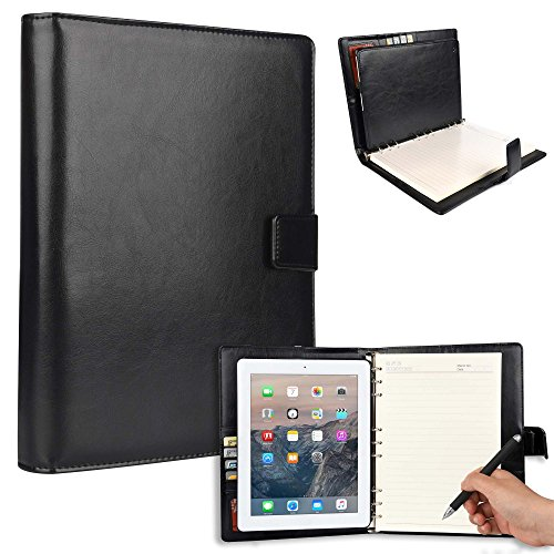 Cooper FOLDERTAB Padfolio Case Compatible with iPad 4, iPad 3, iPad 2   Business Executive Organizer with Notepad   Vegan Leather, Left & Right Handed Binder, Notebook Refill, Pockets   Apple (Black)
