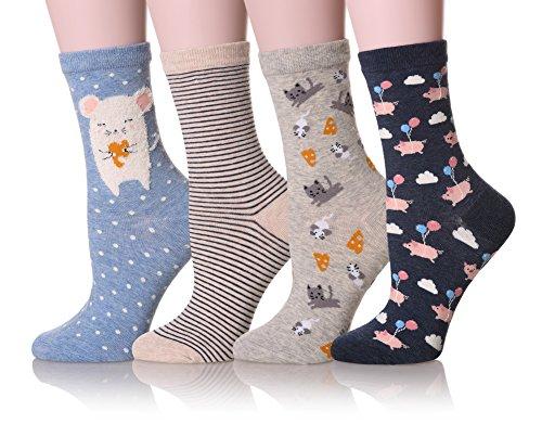 Dosoni Girl Novelty Cartoon Animal Lovely Cute socks 4 packs-Gift Idea (Pig/Blue)
