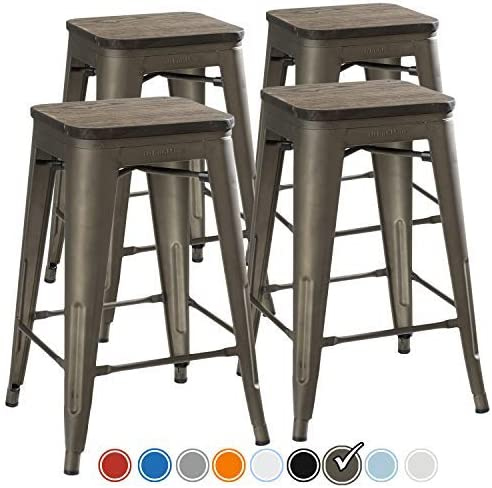 UrbanMod 24  Stool Set of 4 by Distressed White Rustic Bar Stools -Counter Height  sc 1 st  Amazon.com & Amazon.com: Stools u0026 Bar Chairs: Patio Lawn u0026 Garden