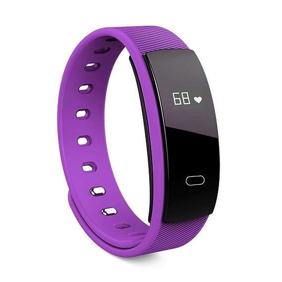 Reloj Inteligente Xinan QS80 Bluetooth reloj pulsera inteligente Monitor de ritmo cardíaco de fitness Para iOS Android (❤️Morado): Amazon.es: Relojes