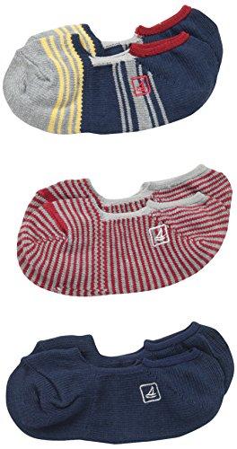 Sperry Top-Sider Boys' Stripe Skimmer Liner 3-Pair Pack (Big Kid), Charcoal, Shoe Size: ()