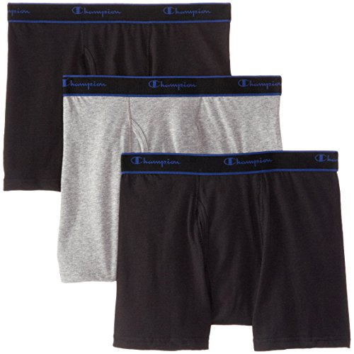 Champion Men's 3 Pack Performance Cotton Short Leg Boxer Briefs, Black/Grey/Black, Medium (Champion Active Boxer Briefs compare prices)