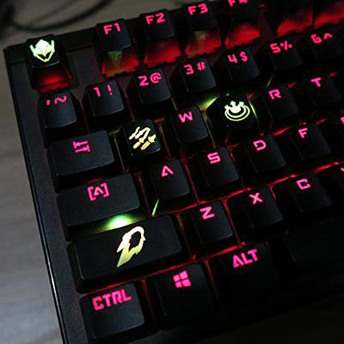All Decor Overwatch Theme Keycaps Hand-Engraved Resin Translucidus Backlit Key caps for Mechanical Keyboards (cherry switches) With Gift Case - Pharah ()