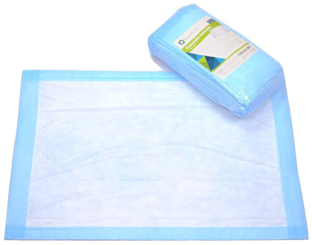 Large Disposable Incontinence Bed Pad 23 x 36 in. (20 Count) - High Absorbency Bed and Chair Underpad Protection for Adult, Child, or Pets - Waterproof Chux by BrightCare