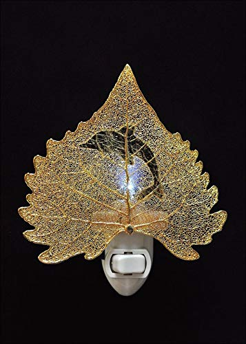 Dolphin Silhouette on Real 24K Gold Cottonwood Leaf Nightlight, Real Leaf Nightlight | Dolphin - Cottonwood 24k Gold Leaf