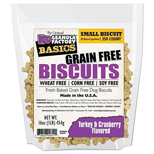 K9 Granola Factory Basics Grain-Free Biscuits, Small 350 Count, Turkey and Cranberry Flavored Dog Treats