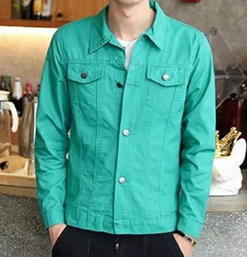 Button Slim Verde Fit Gira Collare Colore up Mogogomen Jean Puro giù Il Cappotto 7q5d4Wzwx