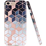 iPhone 7 Case, iPhone 8 Case, JAHOLAN Shiny Rose Gold Gradient Cubes Design Clear Bumper TPU Soft Rubber Silicone Cover Phone Case for Apple iPhone 7/iPhone 8
