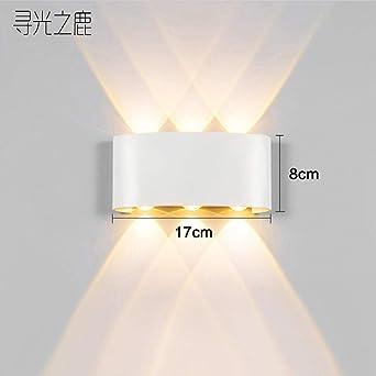 MBLYW LED Aplique de pared Lámpara de pared LED de moda creativa moderna lámpara de noche lámpara de pared impermeable al aire libre sala de estar fondo escaleras pasillo pasillo lámpara-F3 blanco: