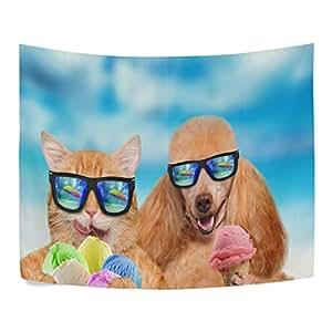 Gato y perro con gafas de sol Come hielo crema poliéster decoración del hogar tapices tapices