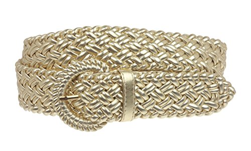 Gold Braided Belt (1 1/4 Inch Wide Metallic Braided Woven Belt Size: L - 40 Color:)