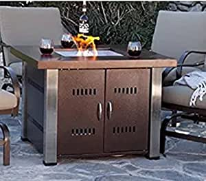 USA Premium Store Patio Heater Table Square Fire Pit Outdoor Backyard Propane Firepit Fireplace