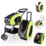 ibiyaya Multifunction Pet Carrier + Backpack + CarSeat + Pet Carrier Stroller + Carriers with Wheels for Dogs and Cats All in ONE (Green)