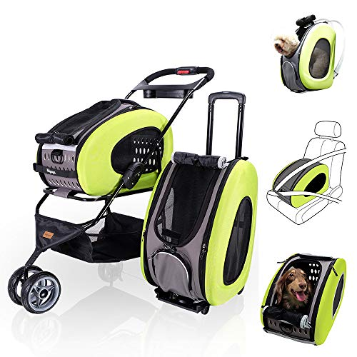 ibiyaya 5 in 1 Pet Carrier + Backpack + CarSeat + Pet Carrier Stroller + Carriers with Wheels for Dogs and Cats All in ONE (Green)