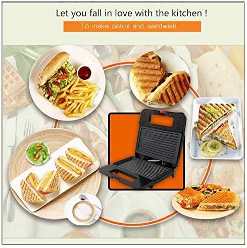 APAN Sandwich Toaster&Pressen,Haushalt 2 Scheiben Sandwich Maschine Edelstahl Toaster |Gestreifte Grill-Frühstücksmaschine-Schwarz/Ideal für Toast-und Käsesnacks