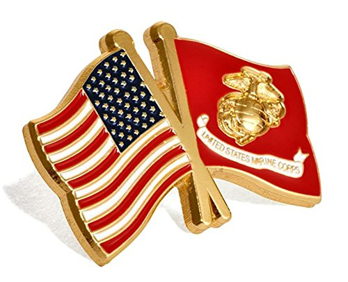 USA and USMC Marine Corps Flags Lapel Pin ()