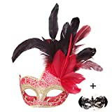 VenetianMasquerade Carnival Mask Women's Sexy Glitter Halloween Ball Mask Christmas Costume Party Mask Feather with Gift (Princess Red+L)