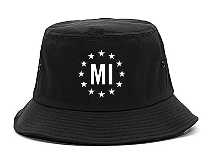 Amazon.com  MI Michigan Stars Circle American Flag Style Bucket Hat ... c4fe3c1d87d6