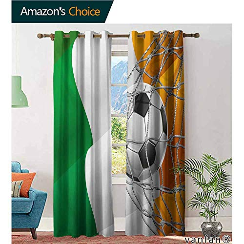 Big datastore Solid Grommet top Curtain,IrishSports Theme Soccer Ball in a Net Game Goal with Ireland National Flag Victory Win,Extra Long and Wider,Multicolor,W96 xL84 ()