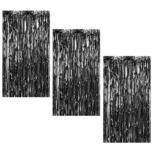3Pcs 3.2ft x 8.2ft Black Metallic Tinsel Foil Fringe Curtains for Halloween Party Bachelorette Birthday Wedding Baby Shower Engagement Holiday Party Decorations - Party Photo Backdrop