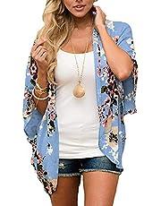 sumtaplor Women's Floral Kimono Cardigans Chiffon Casual Loose Open Front Cover Ups Tops S-XXXL