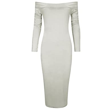 1745f1d86a6e7 The Celebrity Fashion Women's Off The Shoulder Stretch Bardot Bodycon Long Sleeve  Midi Dress: Amazon.co.uk: Clothing