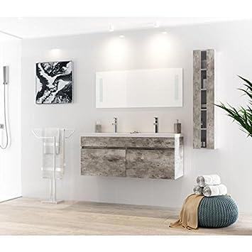 Générique Alban Salle De Bain Complete Double Vasque 120 Cm Gris