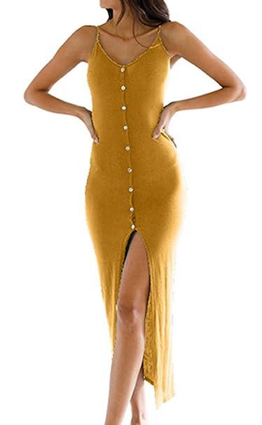 1ffd759c38 Yimeili Women's Summer Button Down Adjustable Spaghetti Straps Maxi Dress  Sleeveless Bodycon Sexy Evening Dresses (L, Mustard) at Amazon Women's  Clothing ...
