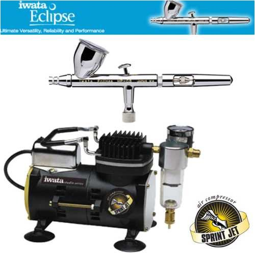Iwata Sprint Jet Compressor - Iwata Eclipse HP-CS Airbrushing System with Sprint Jet Air Compressor