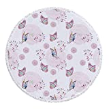 Thick Round Beach Towel Blanket,Butterflies Decorations,Butterflies and Branches Romantic Spring Retro Faith Optimism Change Fly Theme,Pink White,Multi-Purpose Beach Throw